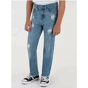 Levi's High Rise Ankle Straight Raw Hems Jeans